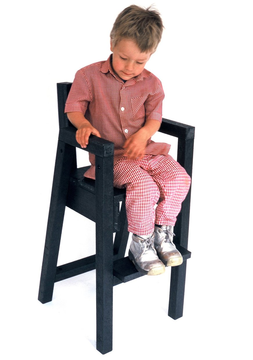Black child sitting in chair - Supperman Kid No Tray